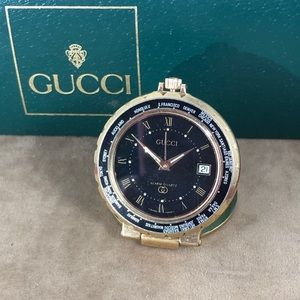 Vintage Gucci World Clock Gold Tone Black Dial
